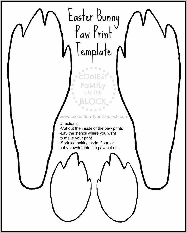 Easter Bunny Footprint Template Free