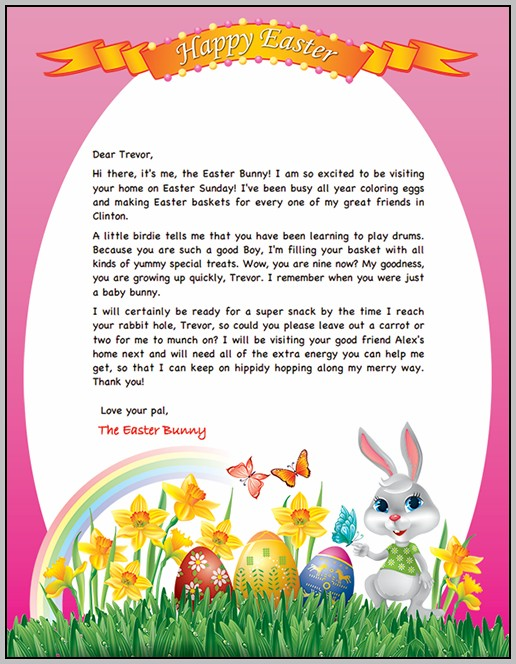 Easter Bunny Letter Template Printable