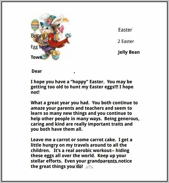 Easter Bunny Letter Template Word