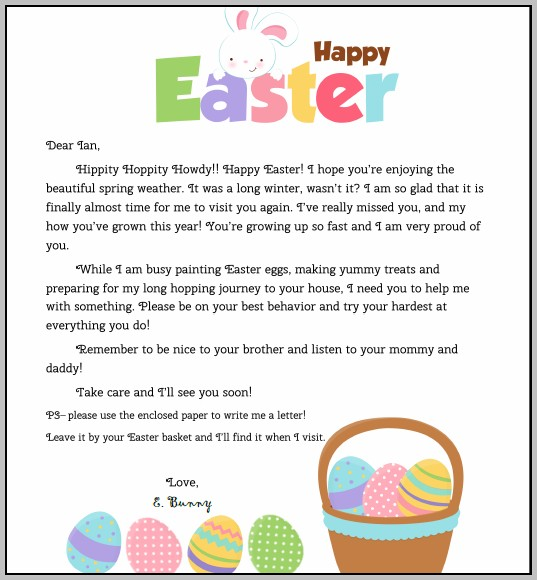 Easter Bunny Note Template