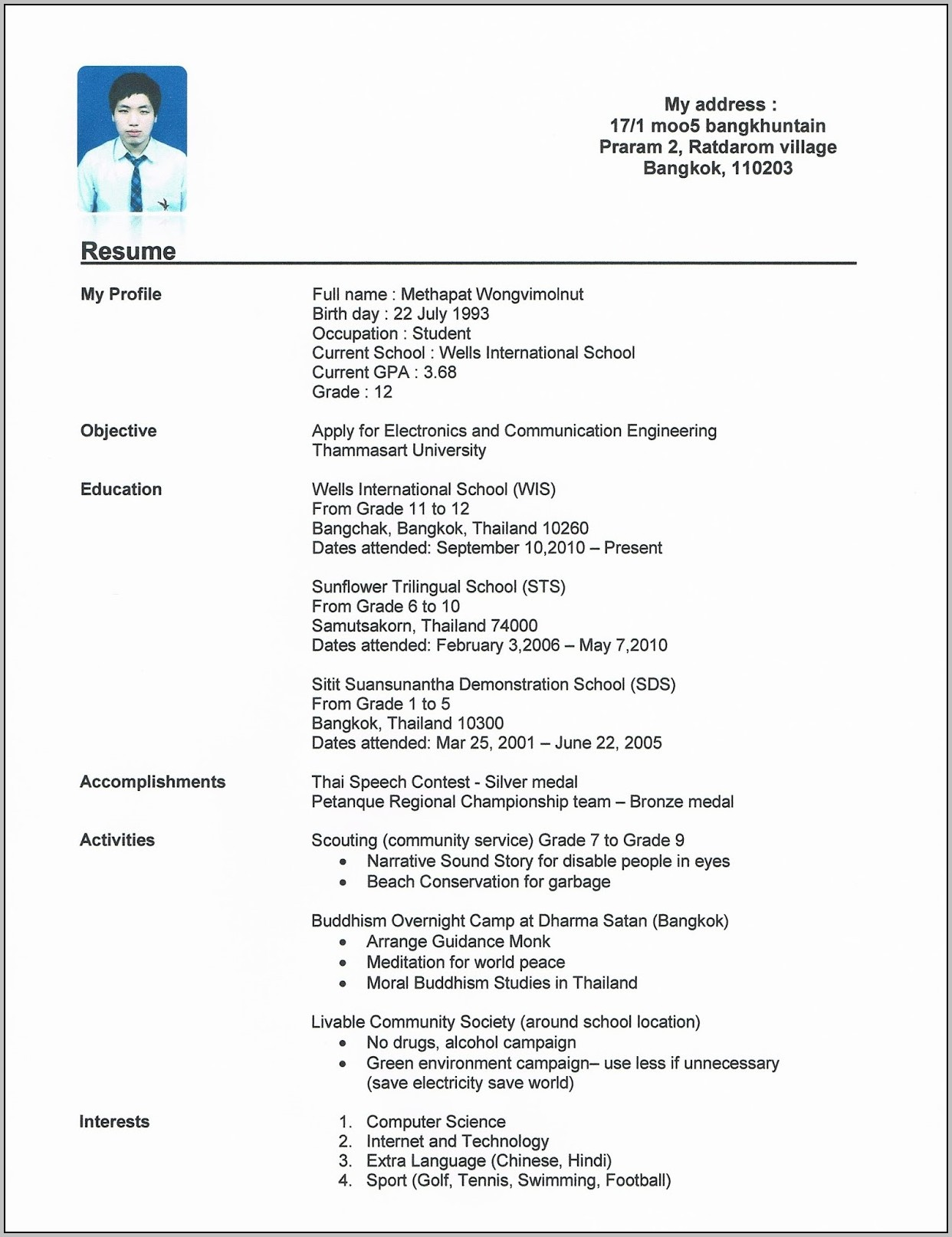 Academic Resume For College