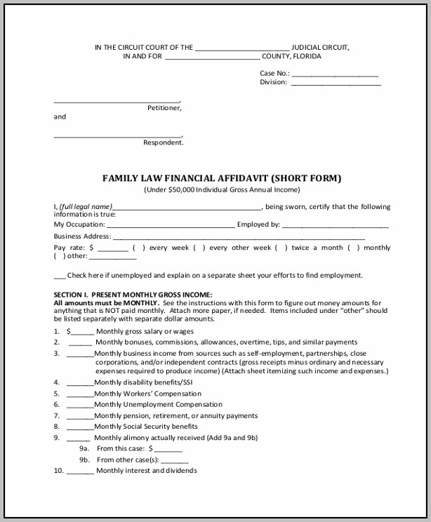 Affidavit Example Family Court