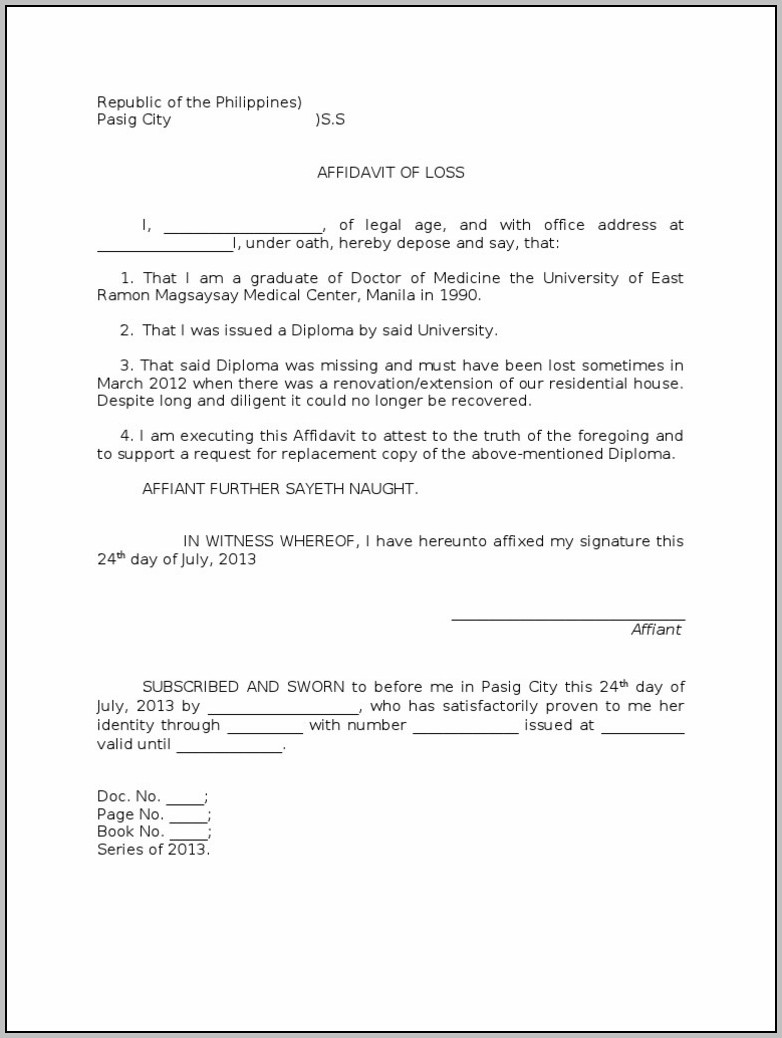 Affidavit Format For Rent Agreement