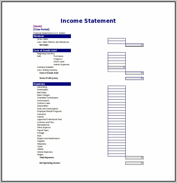 Annual Income Statement Template