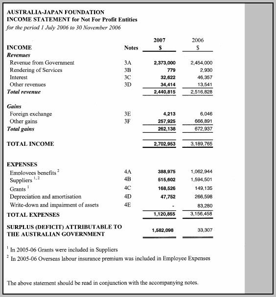 Annual Income Statement