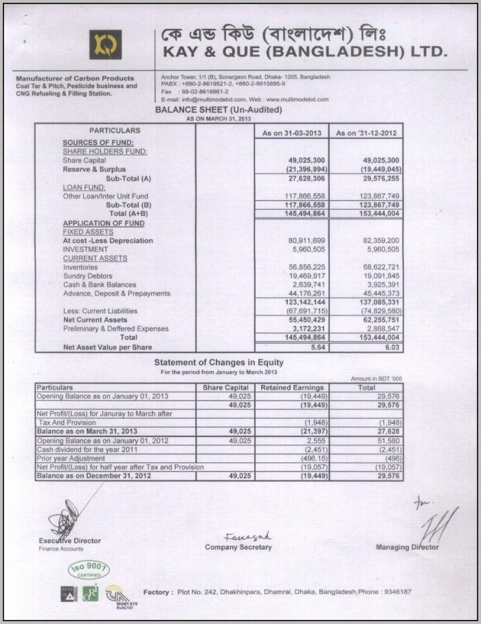 Audited Profit And Loss Statement