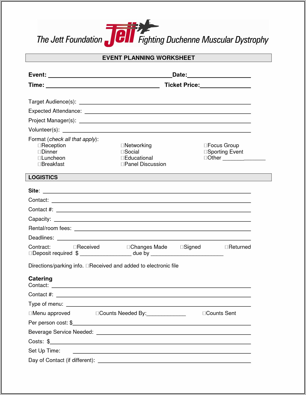 Banquet Planning Worksheet