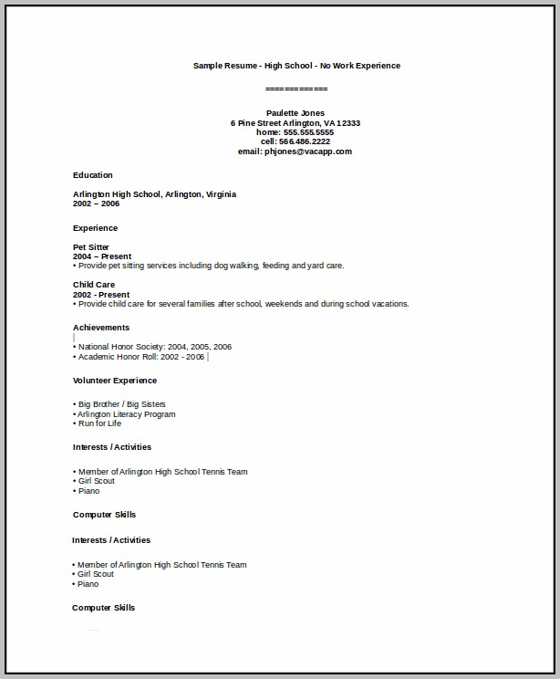 Basic High School Resume