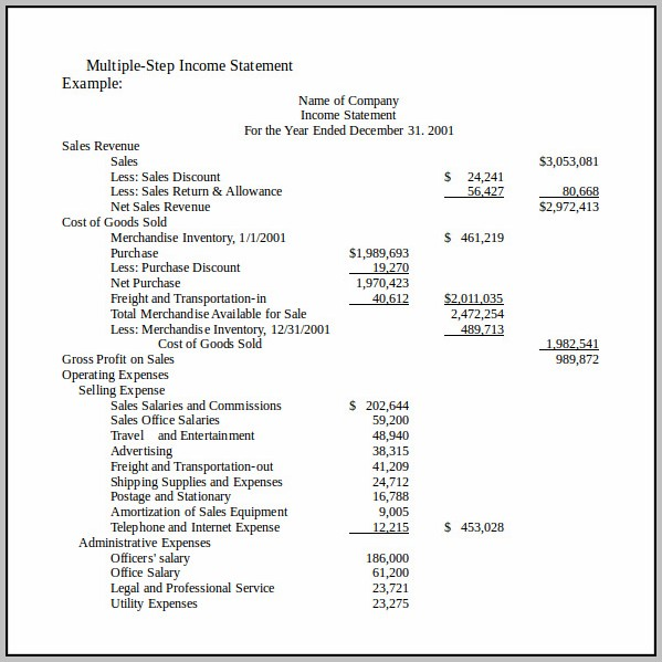 Basic Income Statement Example