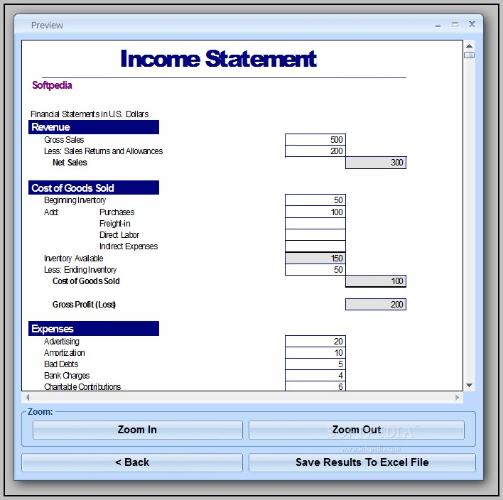 Basic Income Statement Template Excel Spreadsheet