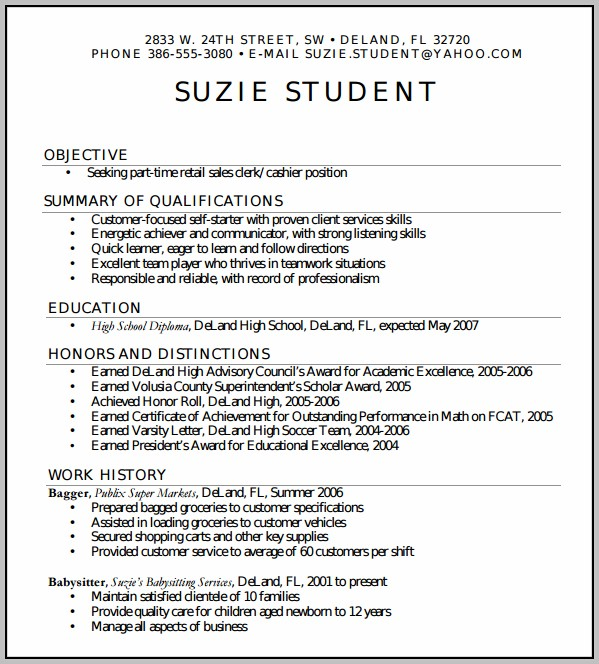 Basic Resume Examples For Highschool Students