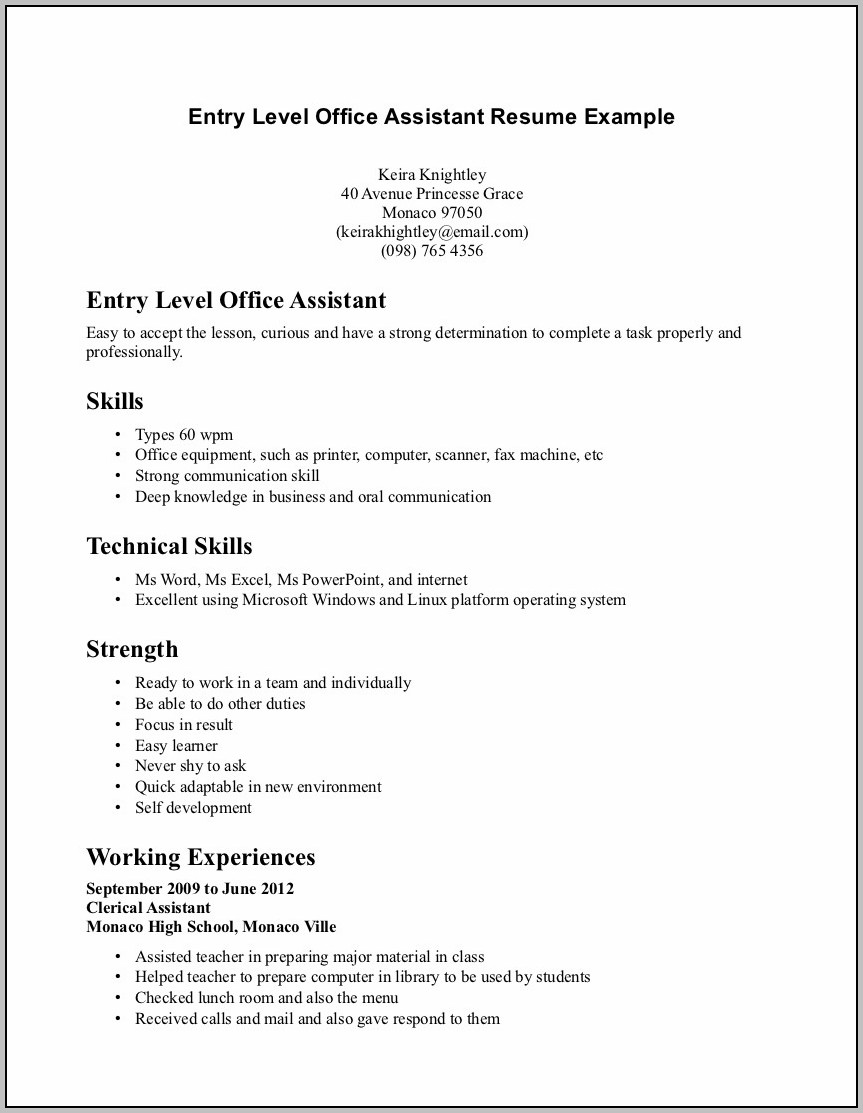 Beginners Resume For Highschool Students