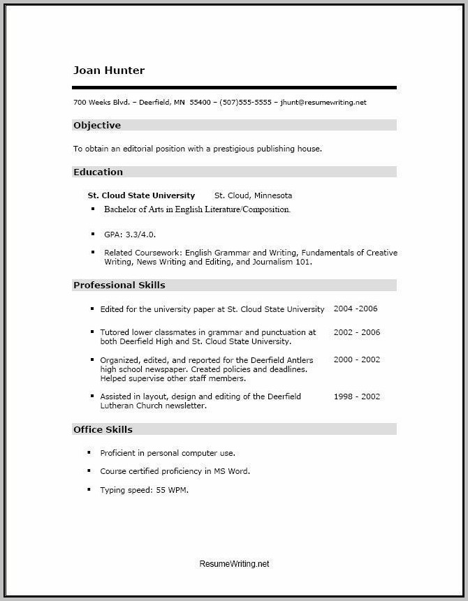Best Resume For High School Student