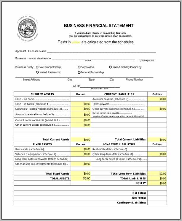 Blank Business Financial Statement