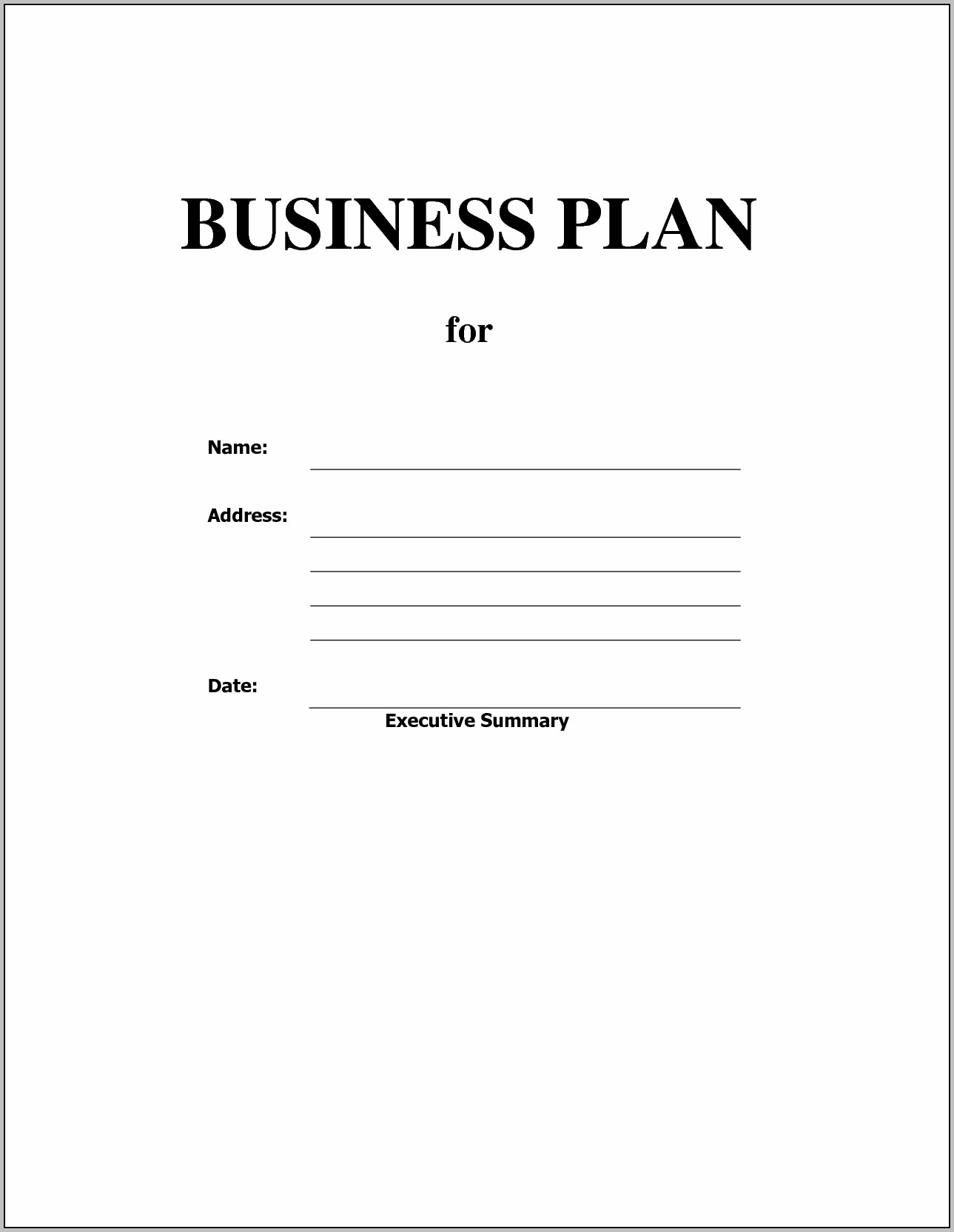 Free Business Plan Non Profit With Blank Business Plan Template Word