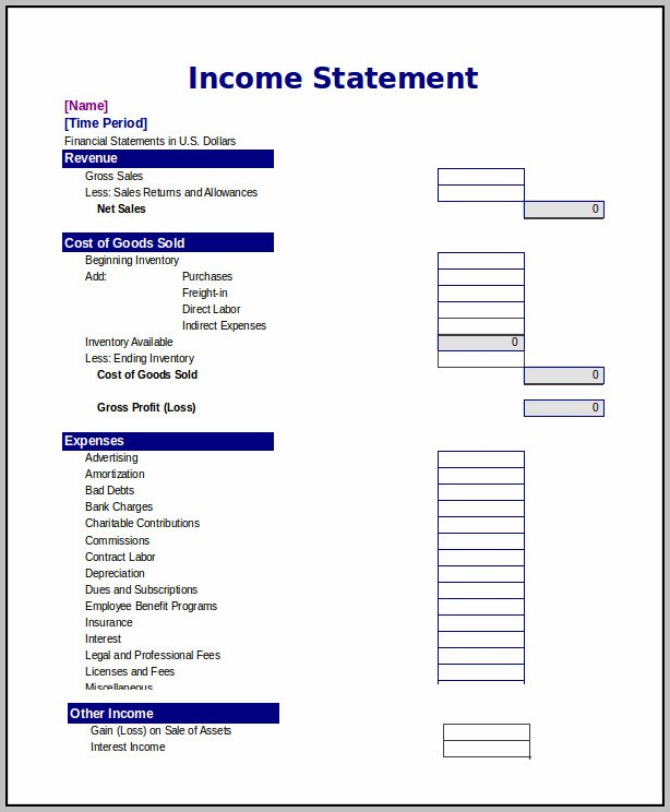 Blank Income Statement Excel