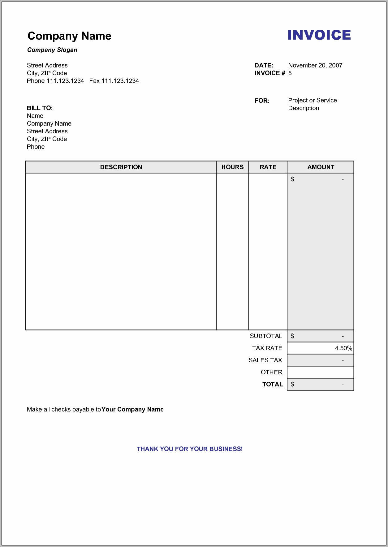 Blank Service Invoice Template