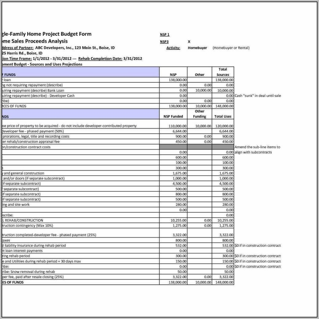 Building Budget Template Excel