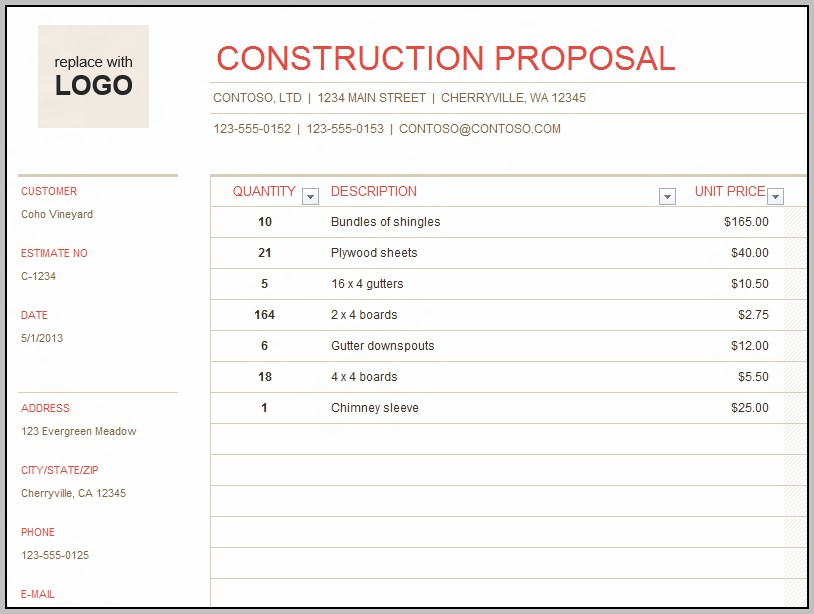 Building Construction Quotation Sample