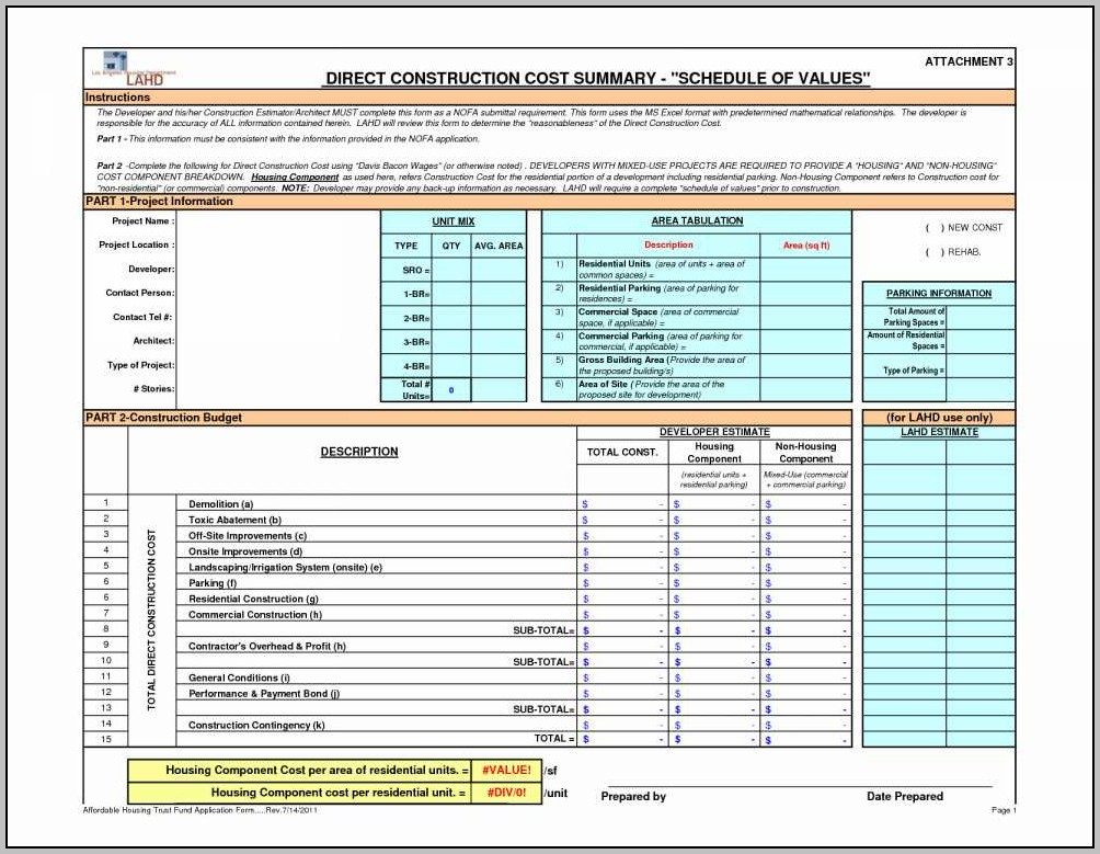 Building Project Management Spreadsheet