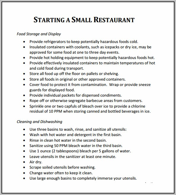 Business Plan For Opening A Restaurant