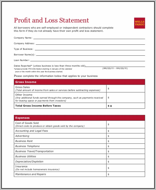 Business Profit And Loss Statement