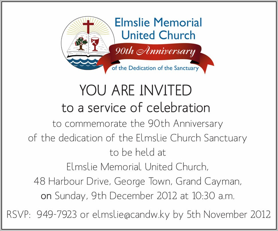Church Anniversary Invitation Templates