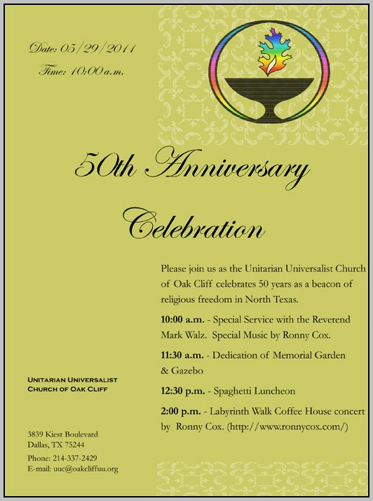 Church Anniversary Invitations Templates