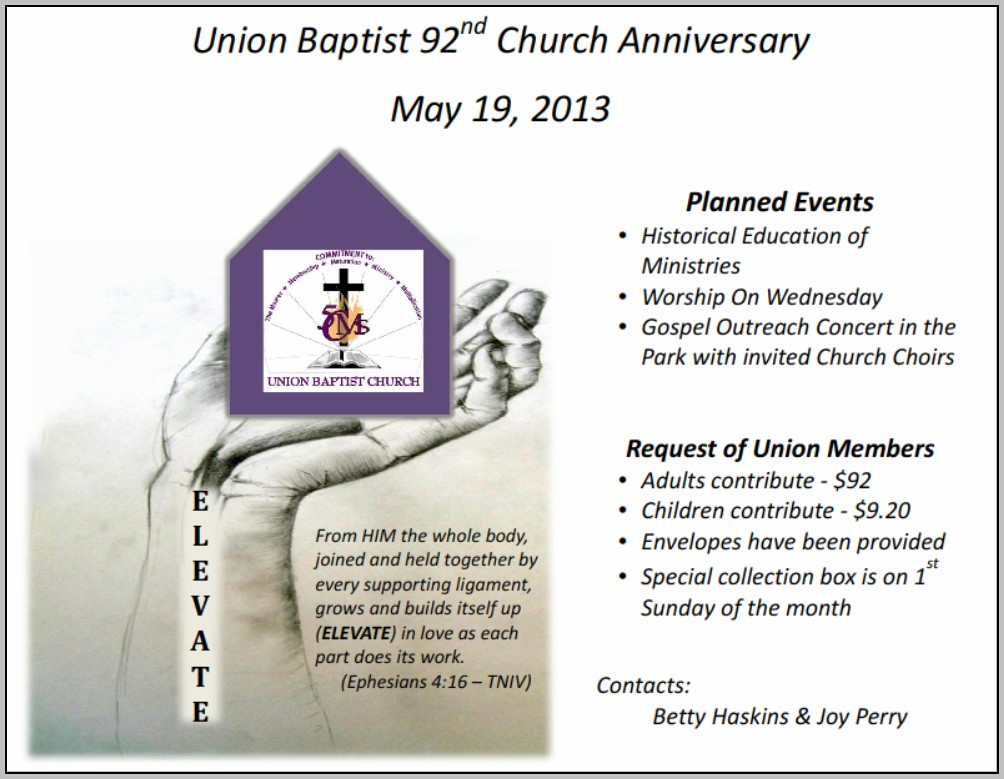 Church Anniversary Program Ideas