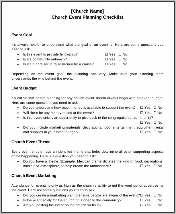 Church Event Planning Template