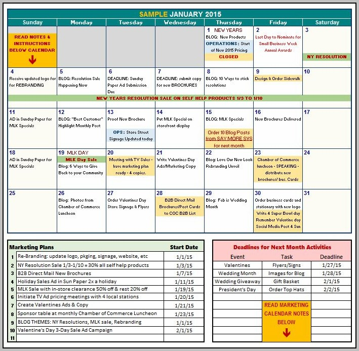 Communications Calendar Template Excel