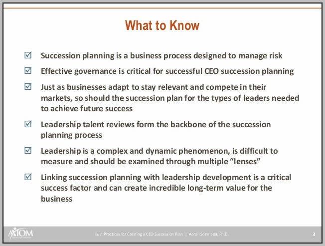 Creating A Succession Plan