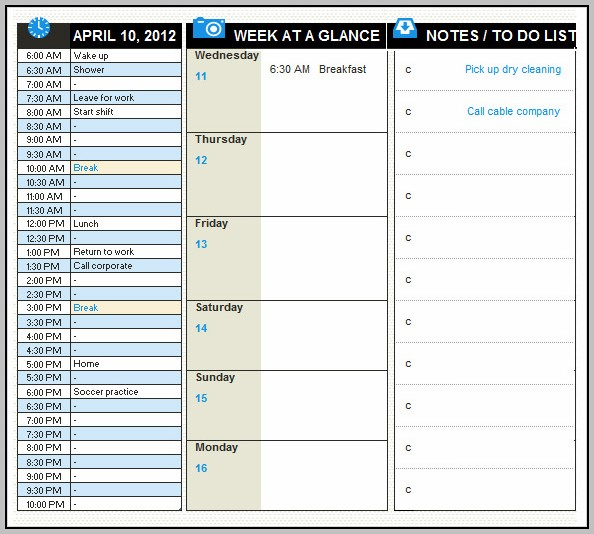Daily Task Planner Template Excel