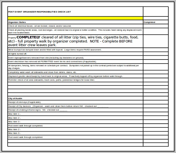 Day Of Event Checklist Template