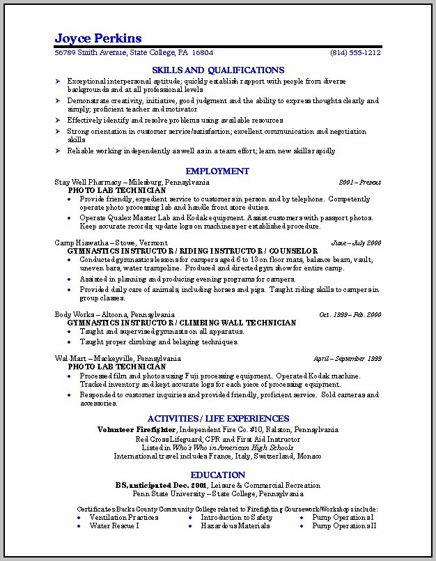 Est Resume Format For College Students