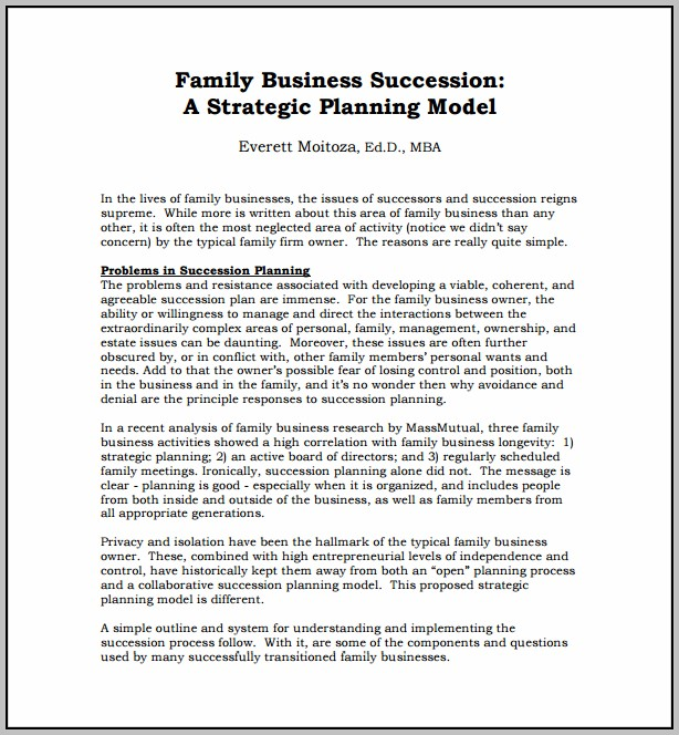 Example Succession Plan For Small Business
