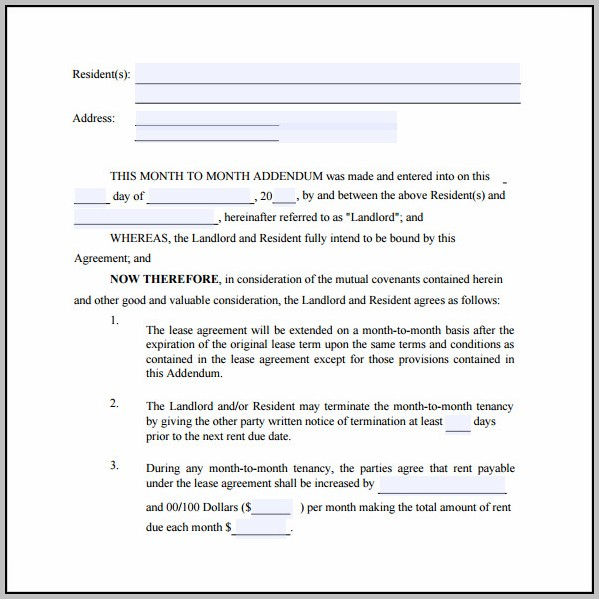 Addendum To Commercial Lease Agreement