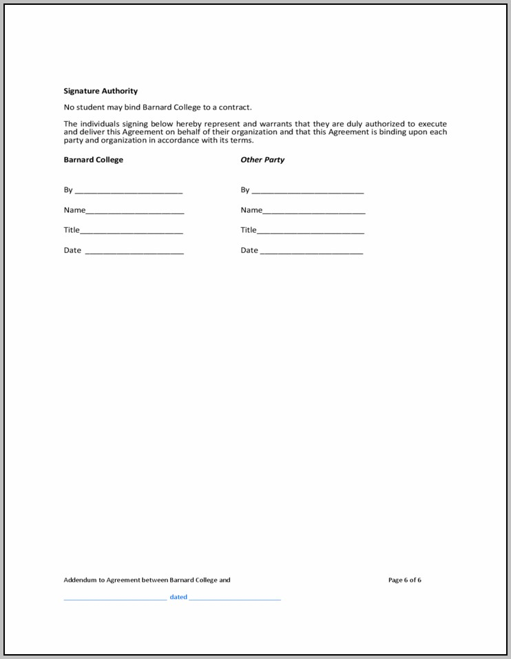 Addendum To Contract Sample Template