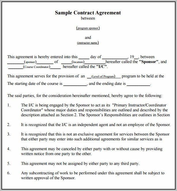 Agreement Template Between Two Parties