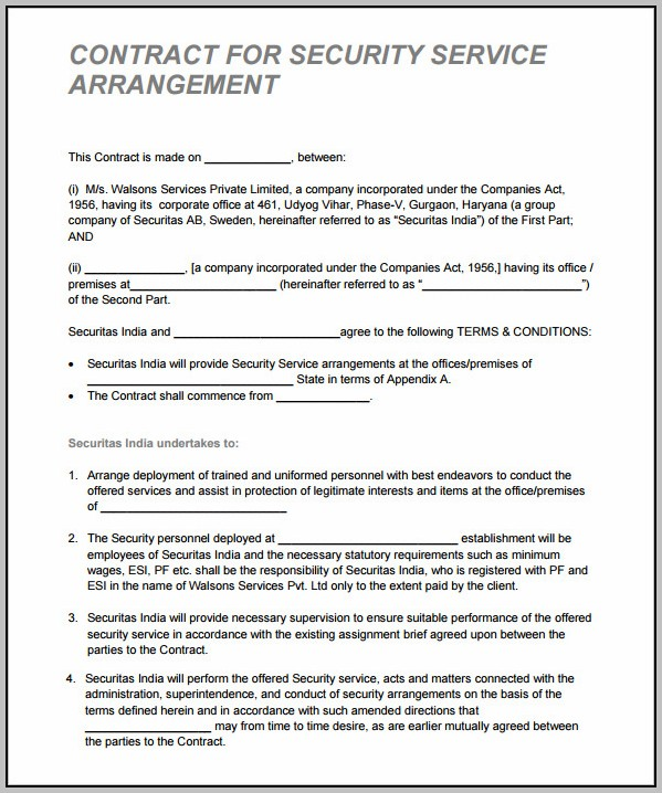 Alarm Monitoring Contract Template