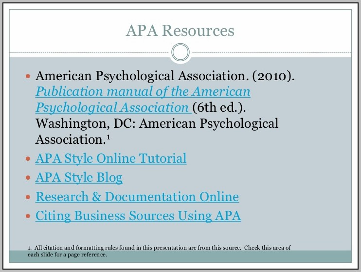 American Psychological Association 2010 6th Edition