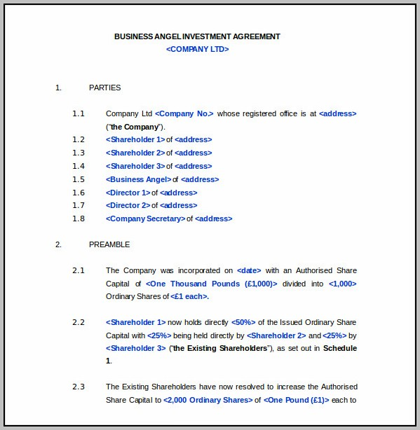 Angel Investment Agreement Template