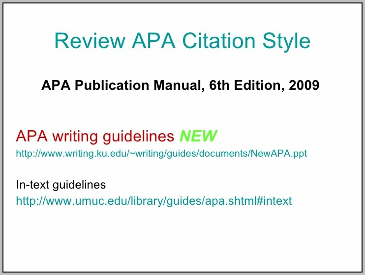 Apa 2009 6th Edition