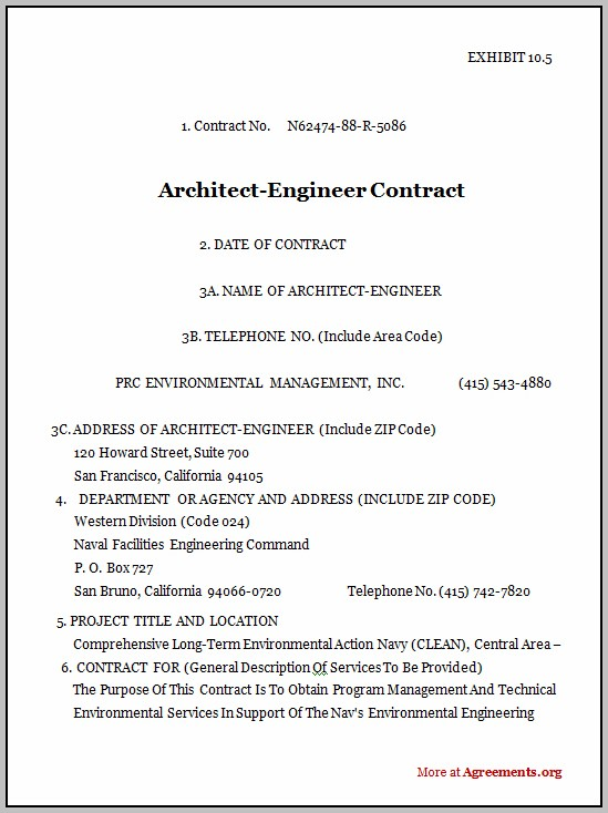 Architect Agreement Sample