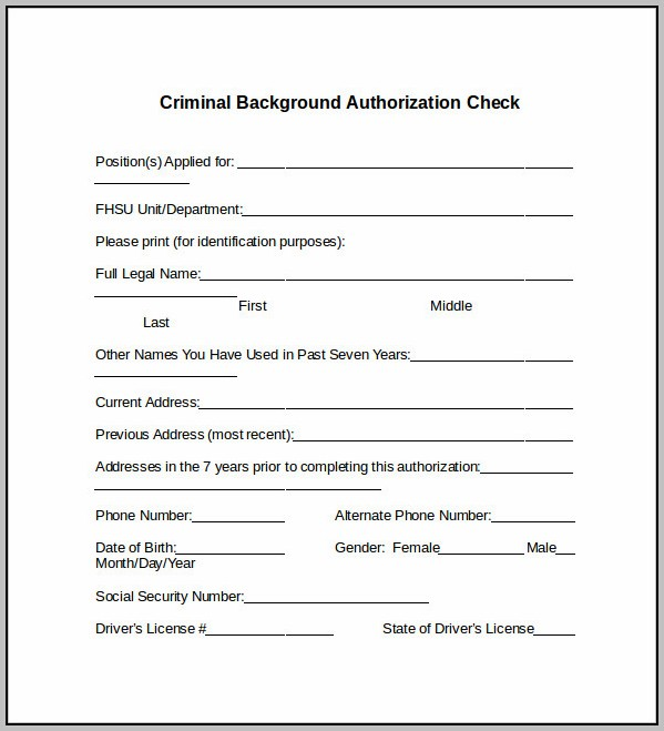 Background Check Approval Form