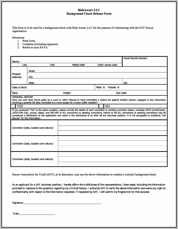 Background Check Authorization Form Florida