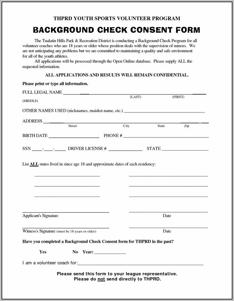 Background Check Consent Form Florida