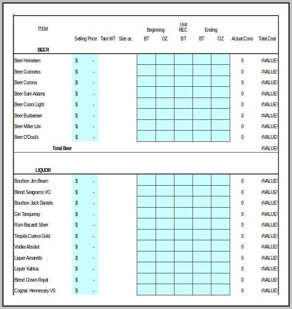 Bar Stock Control Template