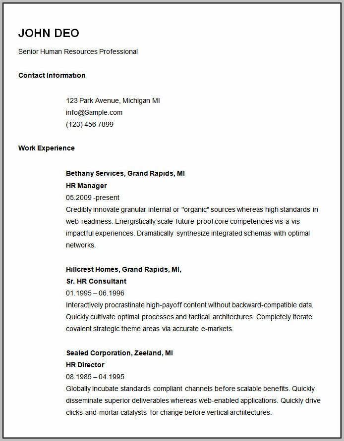 Basic Resume Examples For Jobs