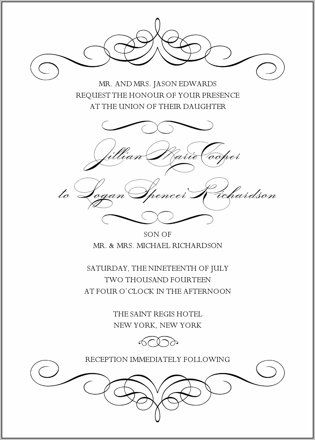 Black And White Invitation Template Free